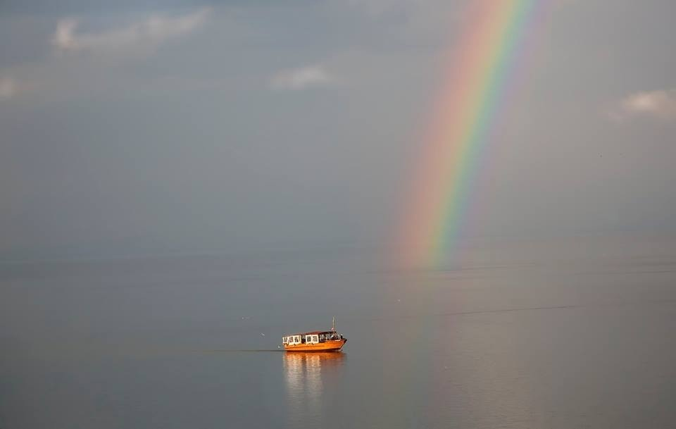 Boat And A Rainbow On The Sea Of Galilee Exceptional