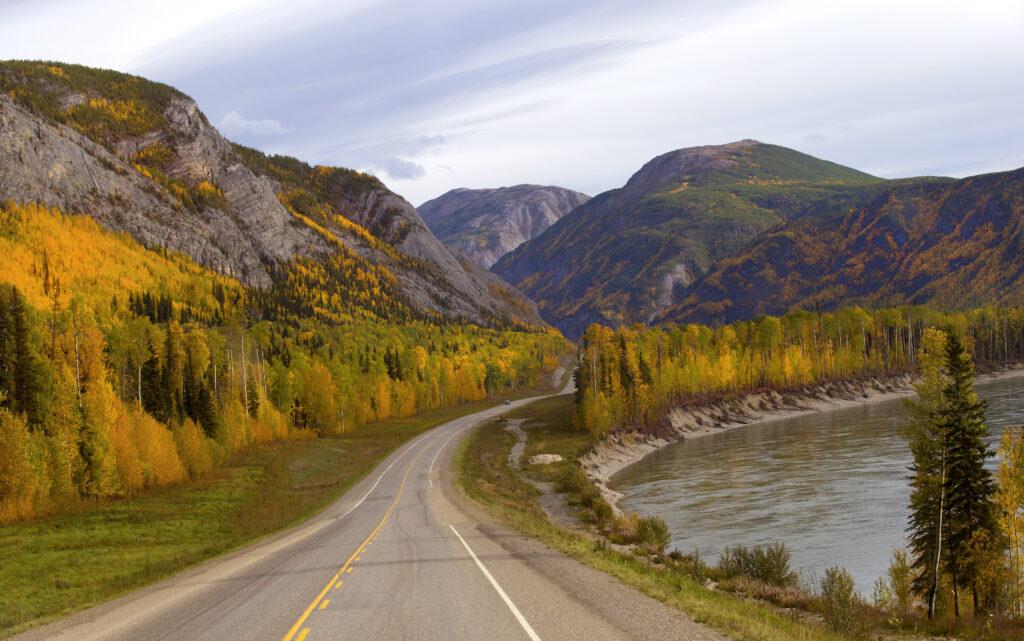 Alaska Highway passing through the Canadian Rockies in Yukon, Canada